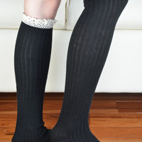 Black and Lace Boot Socks