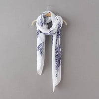 White And Blue Porcelain Scarf