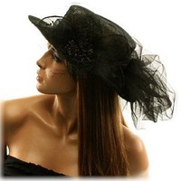 Fancy 1900s Flat Top Kentucky Derby Floppy Bucket Floral Tulle Church Hat Black