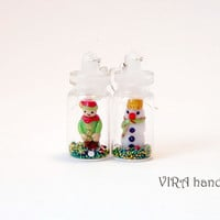 Christmas bottle earrings with a snowman and elf