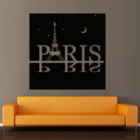Wall decal decor decals art sticker Paris Eiffel tower France lovers inscription word heart poster shop (m445)