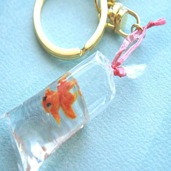 goldfish in a bag keychain/ bag charm