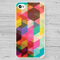 iPhone 5 4 Geometric Case - colourful triangle pattern abstract  - Samsung Galaxy s3, s2, ipod touch -NC