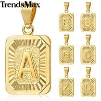 Trendsmax Mens Pendant Necklace Initital Capital Letter Charm Silver Gold Filled Fashion Women Chain Jewelry GP36