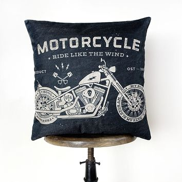 Motorcycles | Pillow Cover | Gift for Him | Throw Pillow | Home Décor | Boyfriend | Dad Gift | Classic Motorcycle