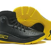 DCCKIJ2 Men's Under Armor Curry 4 Basketball Shoes Black Yellow