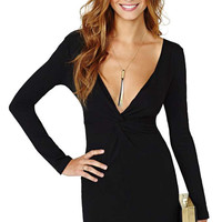 Plunging Neck Black Bodycon Dress