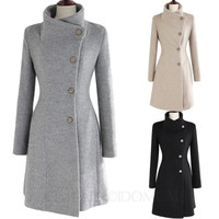 Ladies Upright Collar Belted Coat Womens Peacoats Winter Jacket Button Front Trench Coats Sz 6 4 2 0 = 1929659012