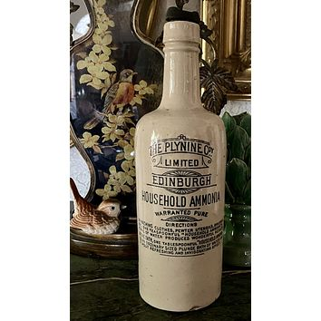 Antique Plynine Co British Edinburgh Ammonia Black Transfer Printed Advertising Bottle