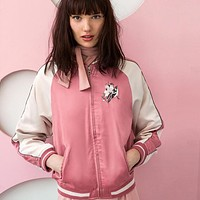 Pink Women Jacket Floral Embroidery Chic Satin Bomber Jackets Warm Preppy Style Loose Casual Streetwear Slim Coat