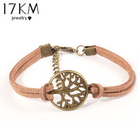New hot 100% Fashion Vintage hand-woven Rope Chain Leather Bracelet Metal tree charm bracelets jewelry for women M16