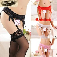 3 Pcs / Lot Apparel Accessories Sexy Lingerie Women Sheer Lace Top T- Back G- String + Stockings + Garter Belt Suspender Set