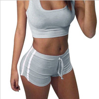 Women Sexy Casual Sport Suit Fitness Sportswear Stretch Exercise Yoga  Erotic Shorts Top Women Tank Vest Trousers Pants _ 13393
