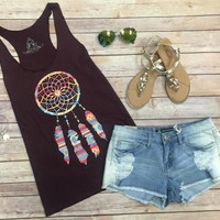 Dream Catcher Tank: Burgandy