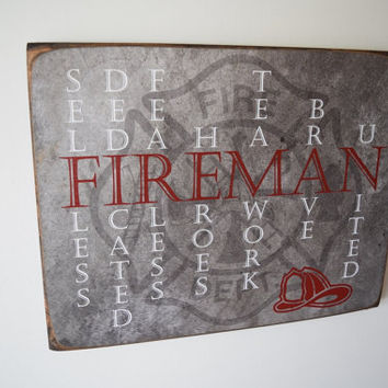 Fireman Sign, Fireman Decor, Firefighter Sign, Firefighter Sign, Firefighter Gift, Fireman Gift, Firefighter, Fireman, Fireman Quote