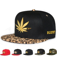 New Fashion Snapback Baseball Cap Hat for Men Women Metal Weeds Blunt