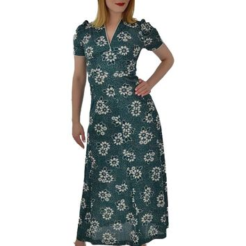 1970s 30s Inspired Green Floral Empire Maxi Dress-S