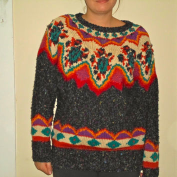 90s Knit Colorful Thick Wool Pullover Sweater Crewneck Sweatshirt