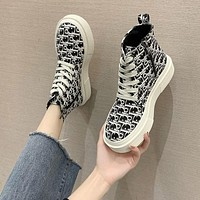 Dior fashion versatile lace-up ankle boot high-top boot motorcycle boot