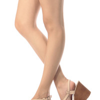 Nude Faux Leather Sling Back Wooden Wedges