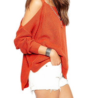 Cold Shoulder Batwing Sleeve Sweater