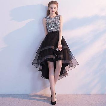 Women's Asymmetrical Prom Party Dress With Sequins Pearls And Rhinestone Bodice
