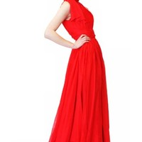 Beautifly Red High-neck Bowtie Wedding Bridesmaid Women Dress