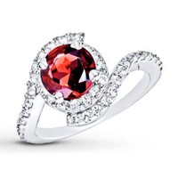 Garnet Ring Lab-Created Sapphires Sterling Silver
