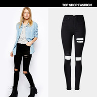 Black Ripped Boyfriend Hole Slim Jeans Denims Trousers Pants _ 1087