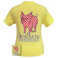 Girlie Girl Originals Southern Polka Dot Happy & Preppy Pig Cornsilk T Shirt