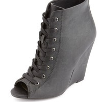 Lace-Up Peep Toe Wedge Bootie: Charlotte Russe