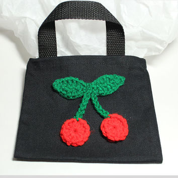 Cherry Treat Bag. Cherry goodie bag. Crochet cherry gift bag. Canvas gift bag.
