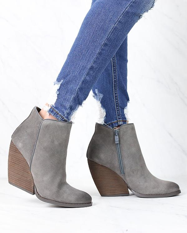 Image of Very Volatile - Whitby Demi Wedge Suede Ankle Bootie in More Colors