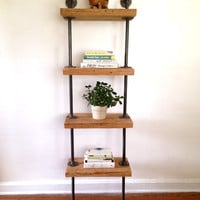Mercer Street Bookshelf - Reclaimed Wood Tall Bookshelf - Reclaimed Wood & Pipe Shelf