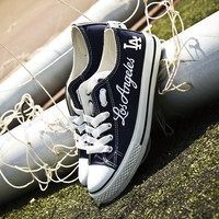 Custom Printed Low Top Canvas Shoes - Los Angeles Dodgers