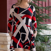 Steal Your Heart Zig-Zag Print Tunic/Dress With Pockets ~ Taupe ~ Sizes 4-10