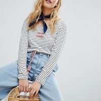 Maison Scotch Slash Neck Longsleveed Stripe Top at asos.com