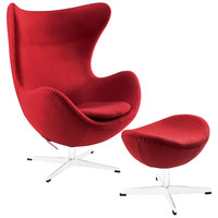 Egg Chair and Ottoman Set, Red