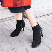 Pointed Toe Dress Spike Heeled Short Boots 6595