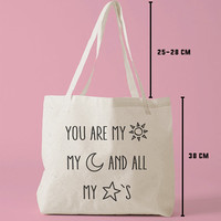 TBAG-542 - You Are My Sun, My Moon and All My Stars - Printed Tote Bag Canvas - by HeartOnMyFingers