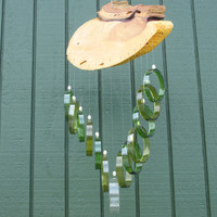 Recycled wine bottle wind chime, Juniper wood, Green and Brown glass, Beads, circle glass windchime