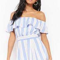 Striped Off-the-Shoulder Flounce Romper