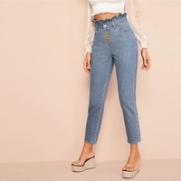 Light Wash Button Fly Paperbag Waist Skinny Jeans Woman Casual High Waist Jeans Blue Denim Ladies Pants