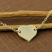 Gold Heart Necklace, Love Necklace, 14kt Gold Filled Chain Necklace, Charlize Theron Heart Necklace, Gold Heart Necklace