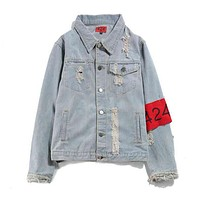 Fashion 424 on Fairfax Print Distressed Denim Cardigan Jacket Coat