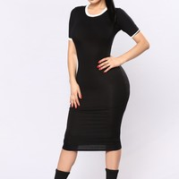 Love The Game Midi Dress - Black