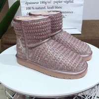 DCCK UGG pearl rhinestone warm low tube snow boots Pink