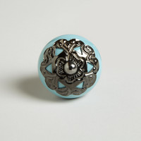 Turquoise Ceramic and Metal Knobs, Set of 2 - World Market