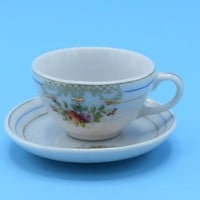 Pico Occupied Japan Miniature Tea Cup & Saucer Vintage Floral Mini Cup Saucer Dollhouse Accessory Fairy Garden Shadowbox Decor Gift for Her