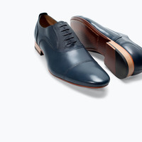 NAVY LEATHER LACE-UP SHOES